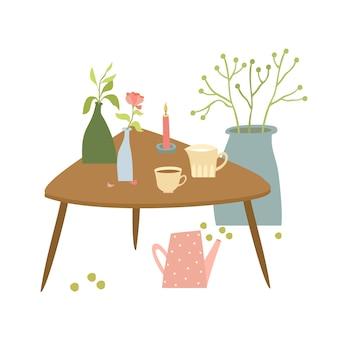 花と居心地の良いテーブル