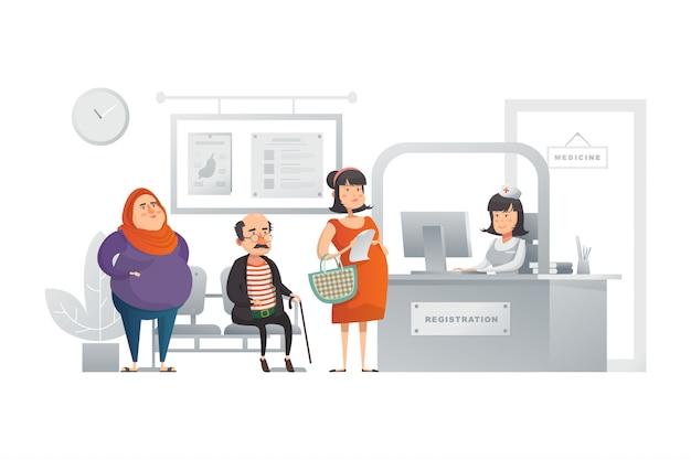 Регистрация в больнице иллюстрация концепция