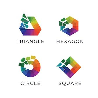 Цифровой многоугольник красочный логотип