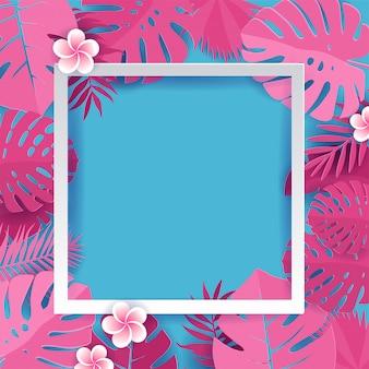 白い正方形のフレームとトレンディな夏の熱帯ヤシのピンクの葉