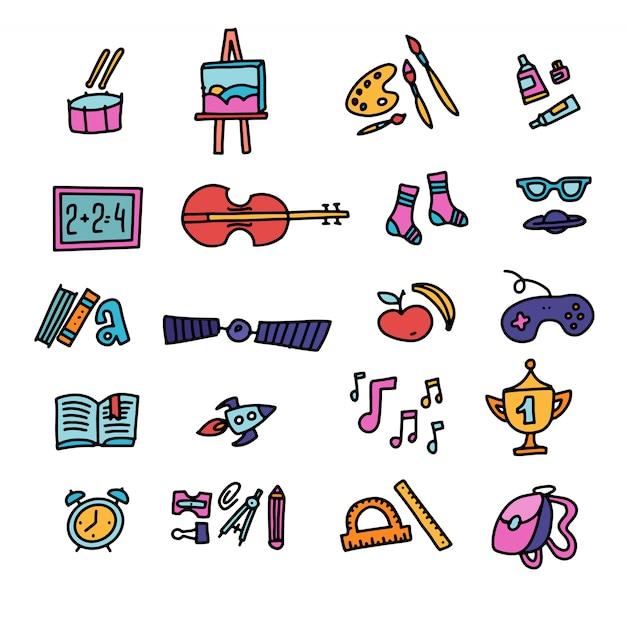 手描き教育のアイコンベクトル。学校のアイコン。学校に戻る。手描き落書き色アイコンセット