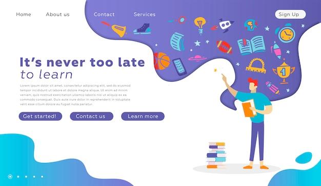 Счастливый студент персонаж с целевой страницы книги. концепция образования градации для веб-сайта. векторная иллюстрация плоский мультфильм. обратно в школу веб-дизайна. парень читает книгу. школьные принадлежности в мыслях