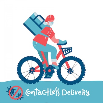 非接触型食品配達ライダーのアイコン。非接触配達サービスのオンライン持ち帰り注文漫画イラスト。医療マスクの自転車運転手宅配便がコロナウイルスウイルスの流行時に食品を運ぶ
