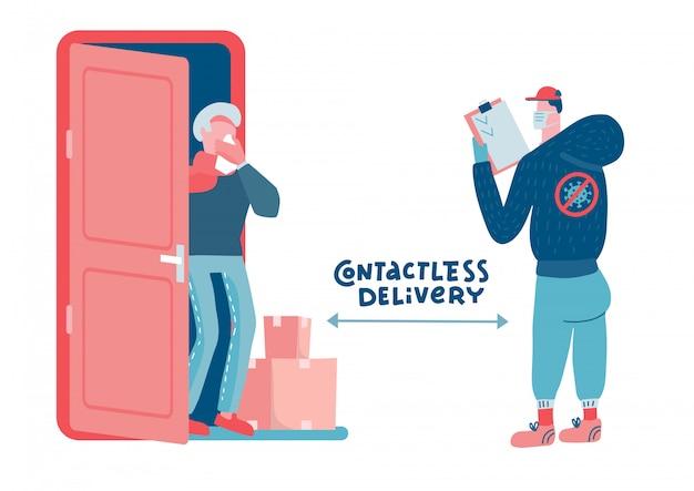 Помощь старшему поколению во время пандемии и карантина. доставка еды и лекарств до дверей. курьер с ящиками, старик в защитной маске ждут товар. плоская иллюстрация.