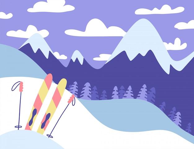 Горнолыжный курорт с панорамным видом на горы, еловый лес, разноцветные лыжи с палками. плоская зима широкая концепция иллюстрации.