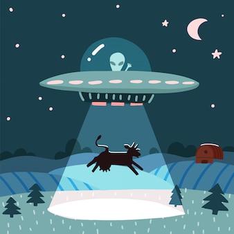 Нло с инопланетянами, похищающими корову, летний ночной пейзаж фермы с ночным полем с домом. плоская иллюстрация с звездами и луной в небе. мультяшный стиль