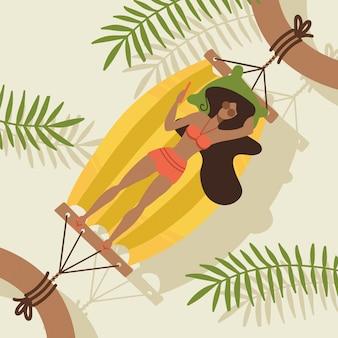 Молодая женщина персонаж, лежа в гамаке под пальмами. вид сверху. плоские редактируемые иллюстрации, картинки