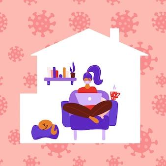 コロナウイルスの危険を回避するために働く女性は家にいます。自己検疫のコンセプトです。家のシルエットの中の女性の人。椅子に座っているとラップトップに取り組んでいる女の子。フラットの図。