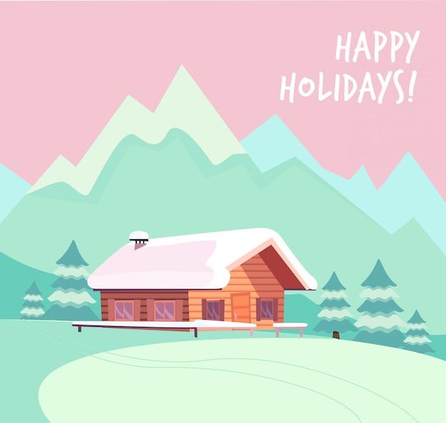 Зимний снежный пейзаж с горами и деревянный бревенчатый загородный дом.