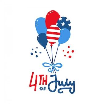 アメリカの国旗とアメリカの風船の束はアメリカの労働者の日のための白い背景に分離します。記念日または独立記念日。手描き落書きフラットイラストとレタリング。