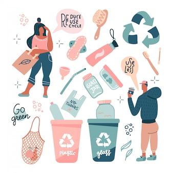 廃棄物ゼロ。エコスタイルのコンセプトです。プラスチックなし。緑に行く。より少ない使用。人々、再利用可能なバッグ、ブラシ、ボトル、引用をレタリングで白で隔離されるガラスの瓶を考えています。フラットのベクトル図