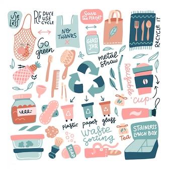 手の大きなセットには、廃棄物のゼロ要素が描画されます。トレンディな漫画のスタイルで生態学的なライフスタイルのコンセプト。再利用可能なバッグ、ブラシ、ボトル、引用符をレタリングで白で隔離されるガラスの瓶。フラットベクトル