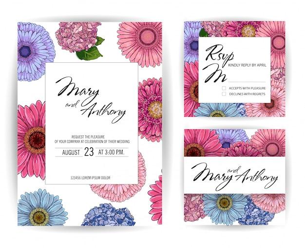 結婚式のピンクとブルーの招待状セット、ガーベラのスケッチ、アジサイの招待カードデザイン。手描きのカラフルなイラスト。