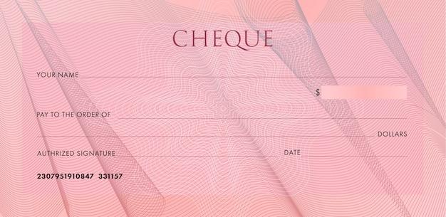 テンプレート、小切手帳を確認してください。ギョーシェ布ひだと抽象的な透かしと空白のピンクのビジネス銀行小切手。