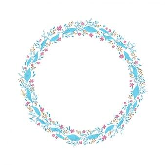 手描きの花輪。繊細な枝と葉を持つ花サークルフレームデザイン