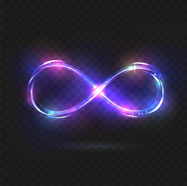 紫色の輝く無限大のシンボル。