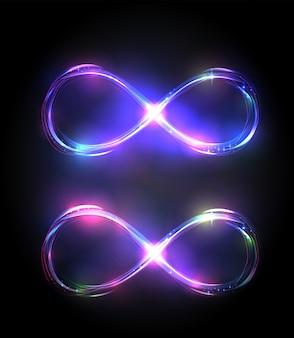 Набор сияющих символов бесконечности. яркие фиолетовые и фиолетовые знаки.