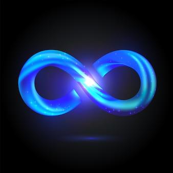 輝くボリューム無限大のシンボル。鮮やかなブルーのフュージョンスウッシュサイン