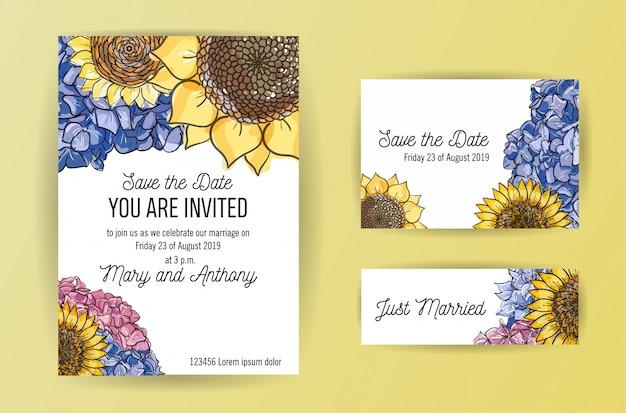 アジサイとひまわりの花の結婚式の招待カードのセット。