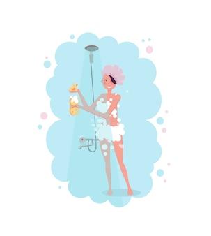 青い蒸気でシャワーを浴びているシャワーキャップで幸せな若い女性のクリップアート。