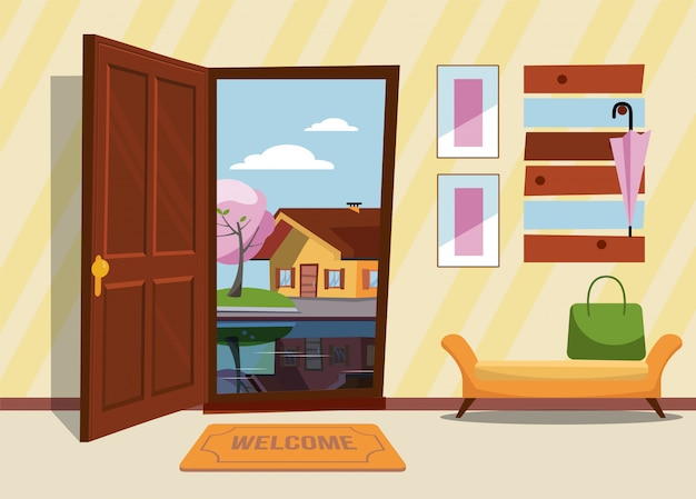 ドアが開いているインテリアの廊下、傘と寝ている犬とスーツケースの上の猫のあるコートラック。非常に夜と黄色の木の外。フラット漫画スタイルのベクトル図。