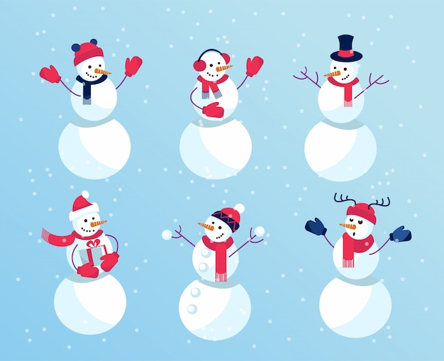 Набор зимних праздников веселые снеговики. эмоциональные персонажи в варежках и забавных шапках.