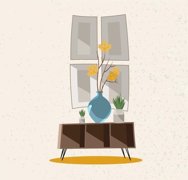 インテリア家具グループ。ガラス花瓶のあるコーヒーテーブル。大まかな質感のベージュの壁。