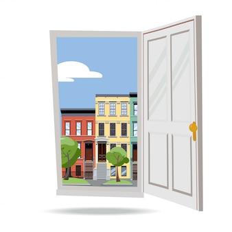白い背景の上の緑の木々と日夏のシティービューにドアを開けます。外のカラフルなタウンハウス。街並み。