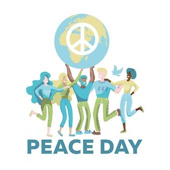 女性と男性の平和のシンボルと惑星を保持しています。グローブの顔のない漫画のキャラクターを持つ活動家。国際平和デー。