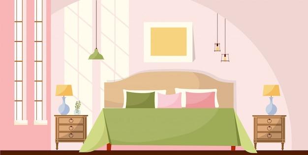 インテリアルームの概念図。ベッド、ナイトスタンド、ランプ、写真、太陽の光の大きな窓のある寝室のインテリア。居心地の良いエレガントな家具。