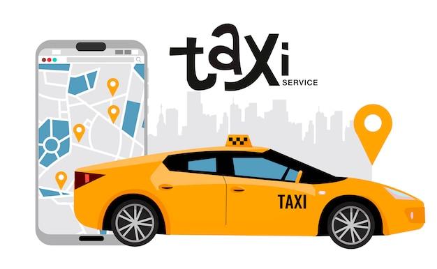 地図とダウンタウン、オンライン注文のタクシーサービスの概念と大きな携帯電話。黄色の車両の側面図。オンラインでタクシーを借りるためのモバイルアプリ。ベクトルフラット漫画イラスト
