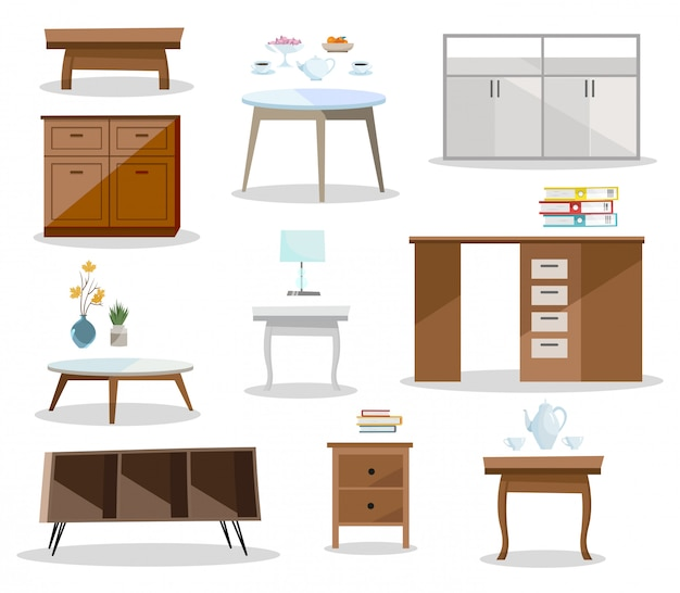 Набор разных таблиц. удобная мебель тумбочка, письменный стол, офисный стол, журнальный столик в современном дизайне.