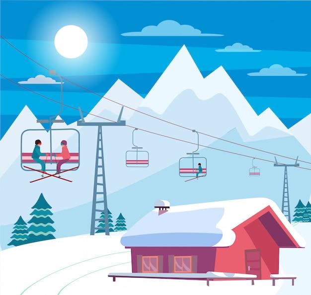 Зимний снежный пейзаж с горнолыжным курортом