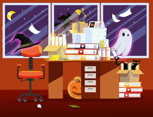 Интерьер комнаты офиса с тыквой, светящийся призрак и кучу бумажных документов на столе.