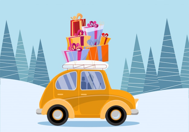 Маленький желтый автомобиль с подарочными коробками на крыше