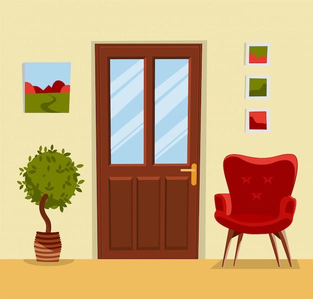 家具と廊下のインテリア。