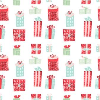 ギフト用の箱とのシームレスなパターン。クリスマスプレゼントと新年の装飾。