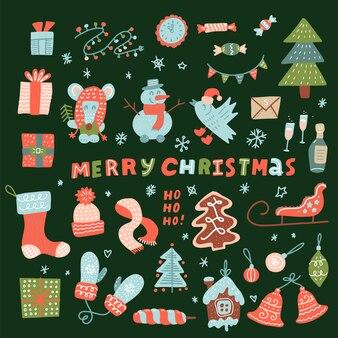 かわいいクリスマスキャラクターと装飾要素のメガセット。休日の装飾、グリーティングカード、印刷用のクリスマスコレクション。マウス、雪だるま、トナカイ、おもちゃ