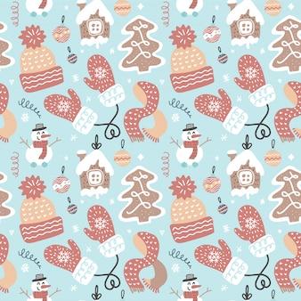 冬の楽しいシームレスパターン。伝統的な装飾クリスマスのテーマ。