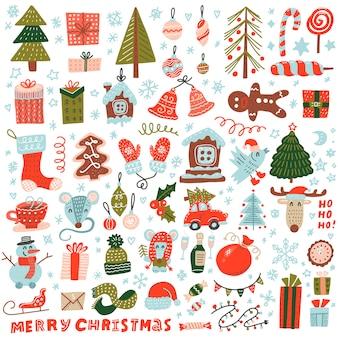 Большой набор рождественских элементов в стиле каракули