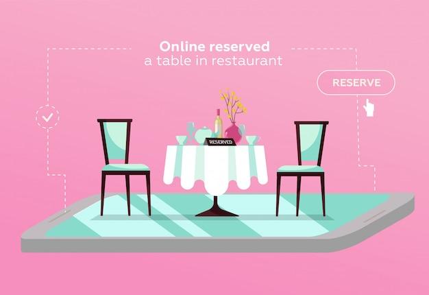 カフェのオンライン予約テーブル。コンセプトレストランで予約。スマートフォン上の平らなレストランのテーブル