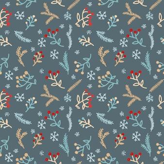 赤いベリー、雪とクリスマスの松の枝のシームレスなパターン。