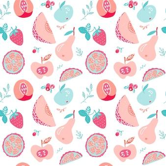 フルーツとベリーのお茶のシームレスなパターン。