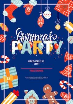 Веселая рождественская вечеринка макет плаката шаблон. приглашение на рождественские каникулы
