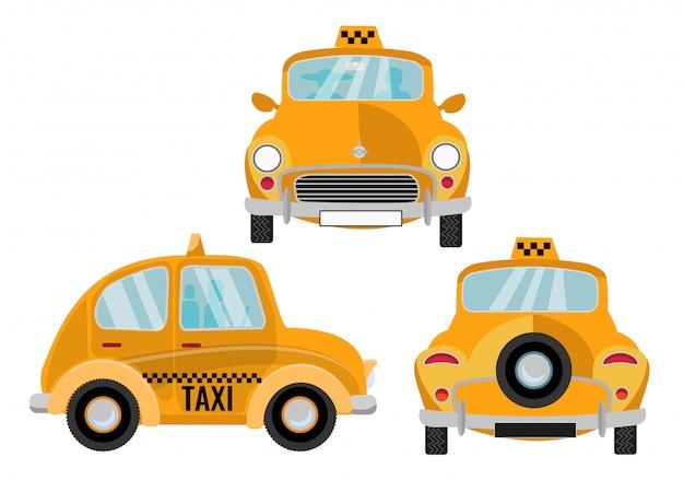 白い背景の上のタクシー車