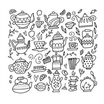 手描きのティーポットとカップのコレクション。ティーカップ、コーヒーカップ、ティーポットを落書き