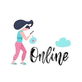 Молодая женщина, держащая смартфон и читающая электронную почту с надписью руки онлайн. зависимость от социальных сетей.