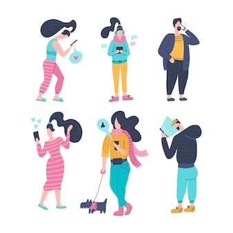 Мужчины и женщины с мобильными устройствами коллекции персонажей мультфильма