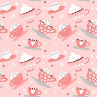 手でシームレスなパターンが描かれたピンクのバレンタインの日ロマンチックなかわいいカップ、マグカップ、ハート、コーヒー、ココア