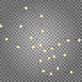 透明で分離されたクリスマスライトの装飾。星の現実的なフラットレイとゴールドの軽い花輪。ゴールデンクリスマス装飾トップビュー。